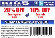 10%/20% off one sale/regular item at Big 5 Sporting Goods! #coupon