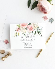 Save The Date - Wedding Invitation - Blush Floral - Blush Floral Save The Date Template – Greenery – Printable Wedding Announcement – Instant Dow - Blush Wedding Invitations, Save The Date Invitations, Wedding Invitation Design, Wedding Stationary, Bridal Shower Invitations, Floral Invitation, Handwritten Wedding Invitations, Invites, Floral Save The Dates