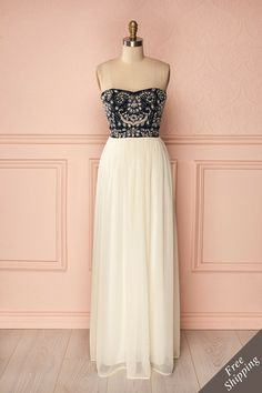 Gorgeous! <3 Franziska - Navy blue bustier dress studded with crystals and cream skirt  Boutique1861