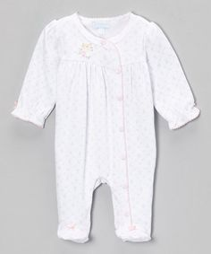 Take a look at this White Blossom Flower Footie - Infant by le top baby on #zulily today!