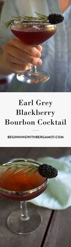 This cocktail is rich, warm and fruity. It's the perfect tea cocktail to drink as summer turns into fall. Just combine Earl Grey tea, bourbon whiskey, blackberry, simple syrup and garnish with rosemary. Click to get the full recipe. // Earl Grey Blackberry Bourbon Cocktail // Beginning with Bergamot: