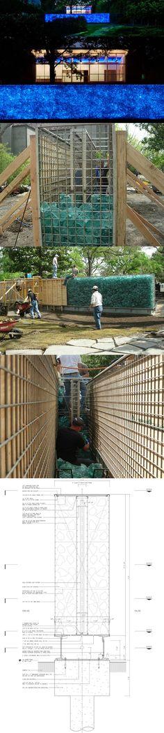 Detalle de gaviones de bloques de vidrio iluminados - ver foto: http://www.pinterest.com/pin/486811040943871075/