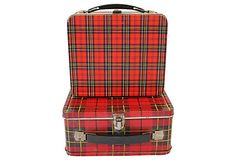 My favorite lunch box. I can still smell my bologna sandwich! Red Plaid Lunch Boxes, Pair on OneKingsLane.com