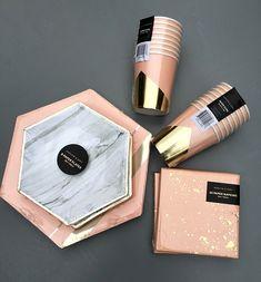 #blush #gold #marble partyware via happymundane.com