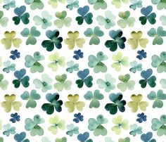 Shamrock Fabric - Shamrock Watercolor Garden // Micro By Hipkiddesigns - Shamrock Green Lucky Cotton Fabric By The Metre by Spoonflower Pattern Wallpaper, Flower Wallpaper, Beautiful Patterns, Surface Design, Custom Fabric, Cotton Canvas, Pattern Design, Plant Leaves, Craft Projects