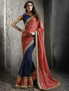Navy Blue and Peach Georgette Saree with Embroidery Work