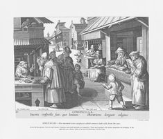 1580: Spectacles.  At the left the optician dispenses ready-made spectacles and magnifiers.  They don't have temple-bars or nose-grip.  Note: next market stalls show people reading, writing, embroidering and making shoes while wearing spectacles.