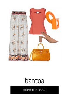 142428908e Pantaloni fantasia a cui abbinare il top arancione, la borsa gialla e i  sandali sabbia,