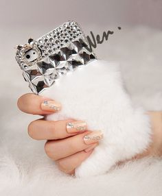 Fur And Rhinestone iPhone 5 Case, Cute iPhone Cases, Sparkling iPhone Case
