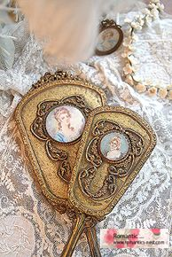 Vintage 1920 Vanity Set Gold Filegree Tray Mirror Brush