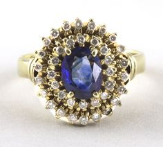 Art Deco Sapphire Diamond Cluster Ring 8 (US) or P (UK) Vintage by fkantique on Etsy Engagement Rings Uk, Victorian Engagement Rings, Diamond Cluster Ring, Sapphire Diamond, Sapphire Rings, Art Deco Ring, Art Deco Jewelry, Natural Sapphire, Close Up Photos