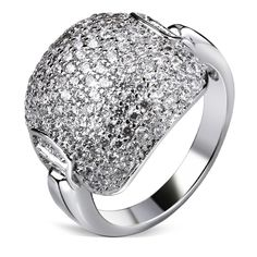 Bridal Wedding Band Ring Wide Rhodium or Gold-color Synthetic Cubic Zirconia Paved Women Proposal Rings Sizes 6, 7, 8, 9