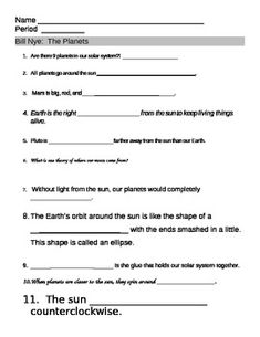 Worksheets Bill Nye Gravity Worksheet bill nye worksheets and planets on pinterest planet video worksheet