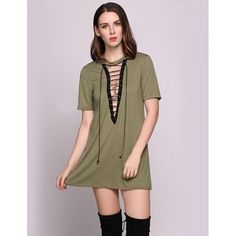 Women Sexy O-Neck Short Sleeve Lace-Up Solid A-Line Mini Dress