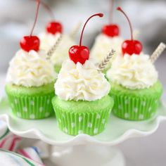 Shamrock Shake Cupcakes with minty green cake and topped with the fluffiest whipped cream mousse you will ever taste! They're the perfect St. Patrick's Day Cupcakes and with a cherry on top Shamrock Shake, Cupcake Recipes, Cupcake Cakes, Dessert Recipes, Cupcake Piping, Desserts Diy, Easter Desserts, Dessert Food, Bundt Cakes