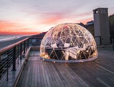 Gurney's Gets Statewide Shout Out For New Igloos - Montauk, NY - What could be better than snuggling up in a seaside themed igloo at Gurney's this winter? Montauk Restaurants, Great Gatsby Soundtrack, Montauk Beach, Future Islands, Snow Activities, Elegant Dining Room, Art Deco Glass, Santas Workshop, The Way Home
