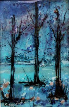 Autumn trees- fused glass painting
