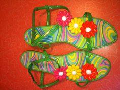 Mod flower power psychedelic kitten heeled by retrowarehouse, $25.00