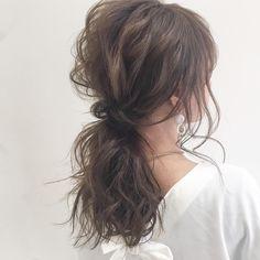 白シャツ美人を目指せ♡ おしゃれ見えを叶える簡単ヘアアレンジ - LOCARI(ロカリ) Permed Hairstyles, Wedding Hairstyles, Cool Hairstyles, Wavy Hair Perm, Hair Arrange, Japanese Hairstyle, Gorgeous Hair, Hair Type, Hair Inspiration