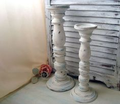 White Distressed Tall Candle Holders Beach by WillowsEndCottage, $45.00