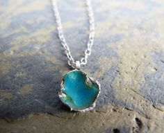 Turquoise blue necklace Rock pool pendant on by SilverJewelleryHS, £30.00