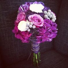 purple wedding bouquet with twine