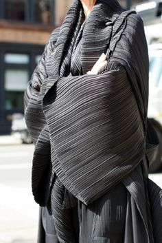 What Issey Miyake is best known for.  Sculptural wearables.