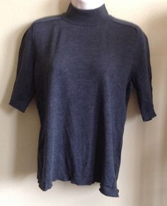 JONES NEW YORK COLLECTION PETITE SILK SWEATER CHARCOAL SHORT SLEEVE SIZE PL