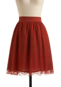 Sweet Paprika Skirt - Red, Floral, Lace, A-line, Party, Vintage Inspired, Spring, Fall, Mid-length, Orange