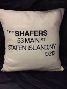 This #custom #embroidered Modern Housewarming Pillow is a great #housewarming or #closing #gift for #realtors. By #WickedStitchesGifts