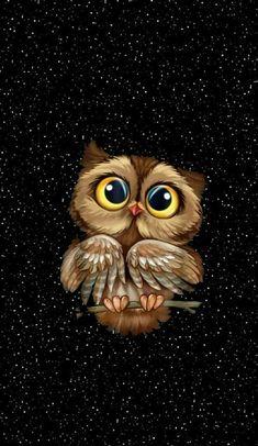 Owl Wallpaper Iphone, Cute Owls Wallpaper, Disney Wallpaper, Wallpaper Backgrounds, Owl Photos, Owl Pictures, Cute Animal Drawings, Cute Drawings, Owl Drawings