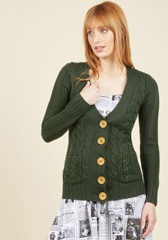 Your Fireside of the Story Cardigan in Forest, #ModCloth