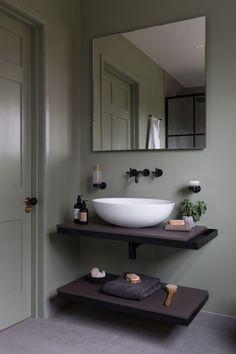 Green Small Bathrooms, Small Bathroom Tiles, Compact Bathroom, Natural Bathroom, Small Tiles, Bathroom Wall Lights, Bathroom Images, Bathroom Design Small, Bathroom Flooring