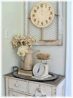 Vintage kitchen cabinet - shabby chic - barnwood art