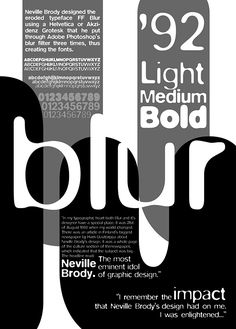 FF Blur by Neville Brody- Typographic Poster on Behance Poster Fonts, Typographic Poster, Type Posters, The Face Magazine, Magazine Art, Page Layout Design, Book Design, Design Ideas, Art History