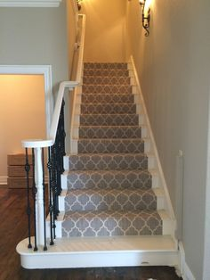 Carpet On Stairs Articles And Images About Carpet Stairs Stair | Carpet For Bedrooms And Stairs | Modern Staircase | Staircase Remodel | Dark Grey Carpet | Stair Railing | Stair Treads