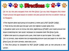 My Pets - Board Game (Directions)