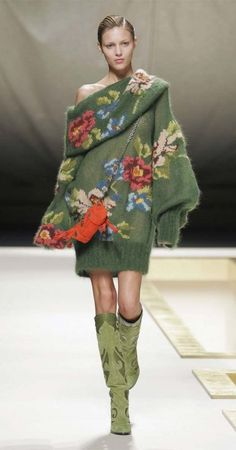 Gorgeous green-grass sweater with rich flowers by fashion house Kenzo.  Designer Antonio Marras.  Fall-Winter 2006-2007