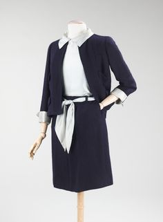 """House of Chanel. Founded 1913. Designer Gabrielle """"Coco"""" Chanel. French 1883-1971.  Suit circa 1967."""
