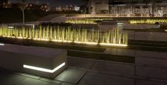 Image 8 of 17 from gallery of BGU University Entrance Square & Art Gallery / Chyutin Architects. Photograph by Sharon Yeari Linear Lighting, Landscape Lighting, Outdoor Lighting, Lighting Design, Light Architecture, Landscape Architecture, Architecture Design, Park Landscape, Landscape Design