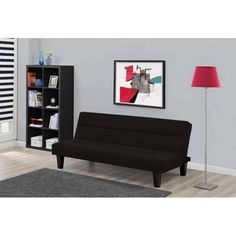 Black Futon Sofa Bed Full Size Convertible Furniture Living Room Guests Sleep #Kebo