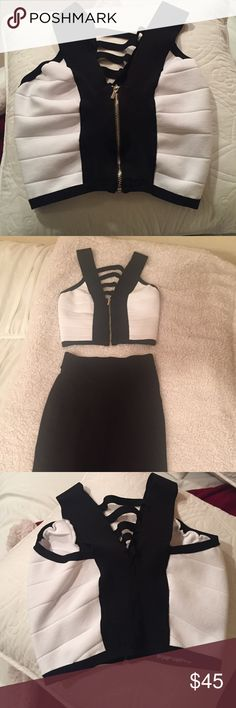 Bebe bandage crop top Only worn once. It's a bandage material so it can stretch to fit a size small and medium bebe Tops Crop Tops