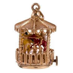 1960s Dankner Living Charm with Carousel Motif | From a unique collection of vintage models and miniatures at https://www.1stdibs.com/jewelry/objets-dart-vertu/models-miniatures/