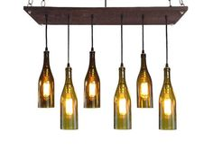 Custom Made Rustic Wine Bottle Chandelier With 6 Recycled Wine Bottles