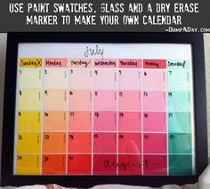 Fun & Creative DIY Paint Chip Calendar Paint chip crafts are fun and cheap. Keep track of your hectic schedule with this reusable dry-erase DIY paint chip calendar. It's an easy DIY project! Paint Sample Calendar, Dry Erase Calendar, Paint Sample Art, Custom Calendar, Diy Calender, Calendar Ideas, Weekly Calendar, Creative Calendar, Family Calendar