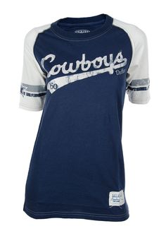 Dallas Cowboys Womens Navy Blue w  White Sleeves Shiners T-Shirt http   d9c9dd306