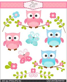 Digital clip art for all use,Owls and Butterfly, owl clip art , pink, blue , INSTANT DOWNLOAD