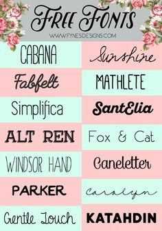 Enjoy these 14 fabulous free fonts! Download the free fonts for personal use