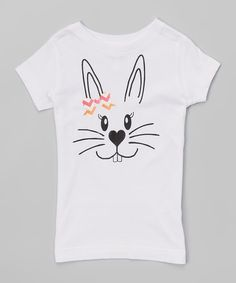 Peanuts & Monkeys White Bunny Face Tee - Infant, Toddler & Girls | zulily