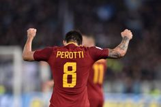 Diego Perotti of AS Roma celebrates after winning the Italian Serie A soccer match between AS Roma and SS Lazio at the Stadio Olimpico in Rome Italy...